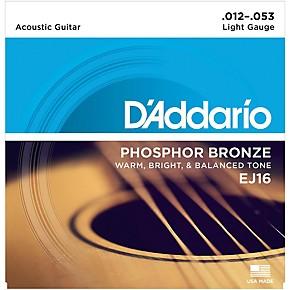 D'Addario Acoustic Guitar Strings Light Gauge 12-53 EJ16
