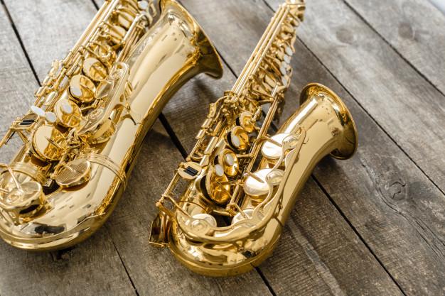 beautiful golden saxophone